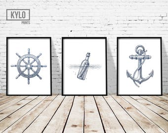 "Nautical Print Set of 3 8x10"", Nautical Illustration, Nautical Poster, Sailing Print, Sailing Poster, Nautical Wall Art, Anchor Art Print"