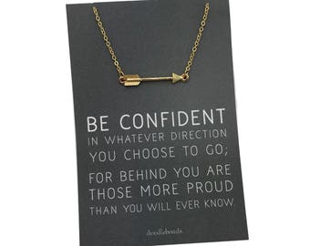 Graduation Gift, Gold or Silver Arrow necklace, carded gift Be confident in whatever direction you go, proud of you gift, college student