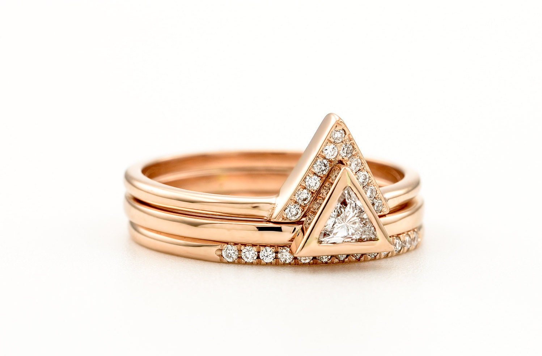 triangle diamond engagement ring set trillion diamond 3 rings