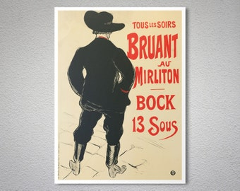 Bruant au Mirliton Vintage Poster by Theophile Steinlen - Poster Paper, Sticker or Canvas Print / Gift Idea
