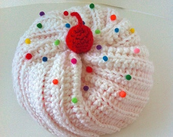 Crochet Cupcake Hat with White Frosting and Bright Pink Cake