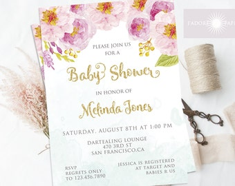 Floral Watercolor Invite, Baby Shower Invite, Printable Bay Shower, DIY Invite, Baby Shower for Girls, Girl Baby Shower, Pink, jadorepaperie