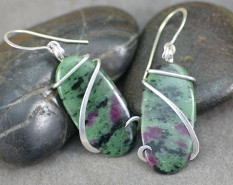 Ruby Zoisite Oval  Cold Forged Sterling Silver Earrings