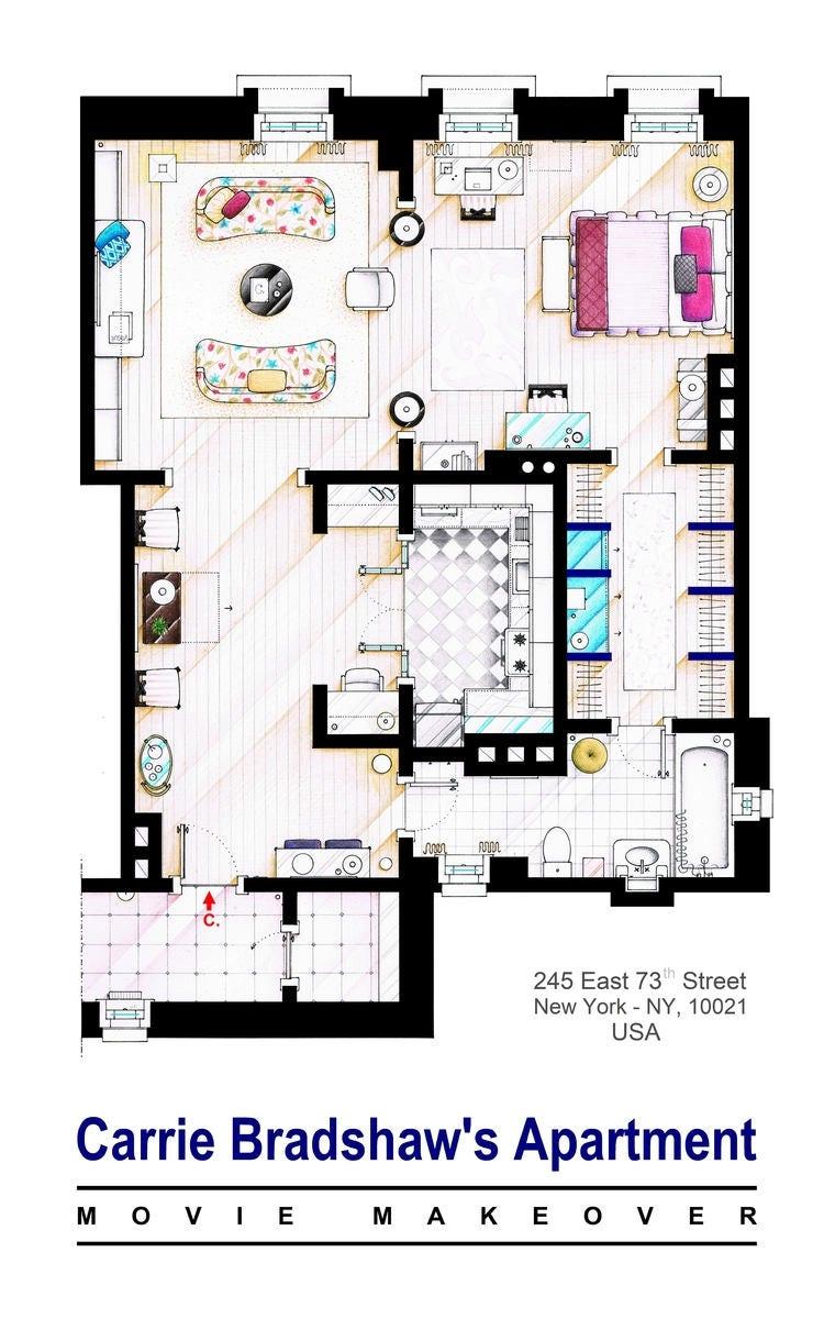Carrie Bradshaw Grundriss Wohnung von SEX & THE CITY Filme