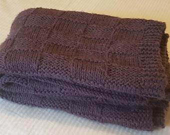 Handknit throw purple