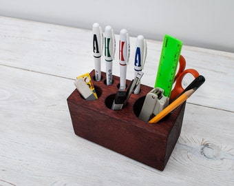 Oak Ton Red Medium Desk Organizer for Tools,  Personalized Office & Home Desk Accessories, Pencil Holder, Office Decor, Desk Decor, Gift ALL