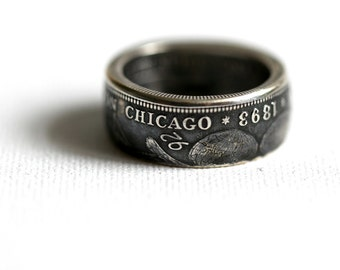 1893 Worlds Columbian Exposition; Chicago, Handmade Coin Ring, size 10 1/2