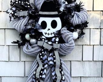 Halloween Wreath SALE, Nightmare Before Christmas Wreath, Jack Skellington Wreath, Black and White Stripes, Skeleton  Wreath