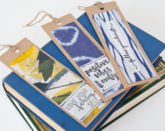 Bookmarks - Set of 3 Handmade Recycled Fabric Bookmarks -  Gift for Bookworms