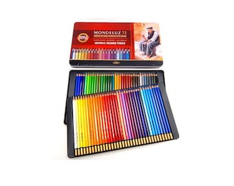 Koh I Noor Mondeluz aquarell colored pencil set 72 pencils water soluble crayon 3727 3726 artist drawing sketching colouring metal case tin
