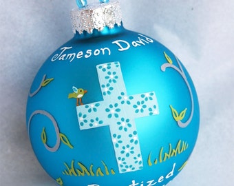 Baptism Ornament - Boy, hand painted and personalized