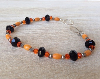 Tangerine Orange Beaded Bracelet Anklet Handcrafted Bohemian Jewelry Sterling Sliver Czech Glass