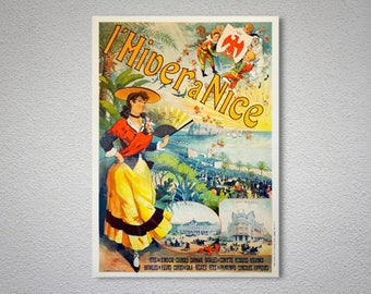 L'Hiver a Nice Vintage Travel Poster - Poster Paper, Sticker or Canvas Print / Gift Idea