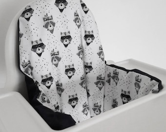 Cushion cover for the Antilop IKEA highchair - cushion cover only - wild west raccoon cushion cover - gender neutral - woodland monochrome