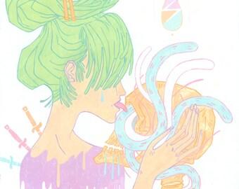 Mutuelle / impression 11 x 14 po. / / hipster pastel goth crâne serpents love