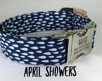 Blue on Blue Rain Drops, Personalized Buckle, Metal Engraved Buckle, Gift for Dog mom, Washable dog collar, Colorful Collar, April Showers