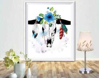 Floral skull art print, skull wall art, skull print, skull home decor, tribal prints, tribal printable, floral skull print, flower skull art
