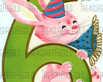 Happy Birthay Six Year Old Bunny Card #253 Digital Download