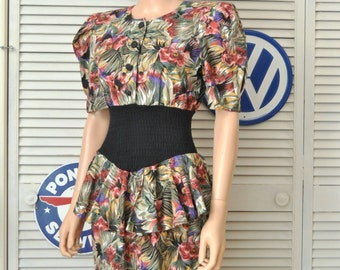 Vintage 80s Womens Dress Bodycon Wiggle Ruffled Peplum Absolutely! Jungle Print Small Junior Teen Cotton Retro 80s does 40s Costume