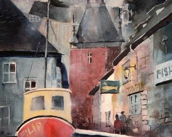 Prague scene - original watercolor (13'' x 19'') / (33 x 48 cm)