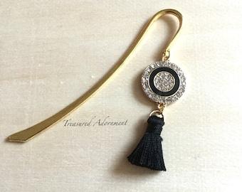 Bookmark, Rhinestone Bookmark, Black Tassle Bookmark, Quran Bookmark, Thank you gift, Eid gift Ramadan  gift, Book club favors, librarian