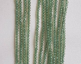 "GREEN APPATITE rondelle facetted beads 2mm 13"" each"
