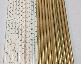 GOLD RETRO STRAWS.   Metallic gold and White with Gold Polka Dots Retro Straws.  Set of 24.