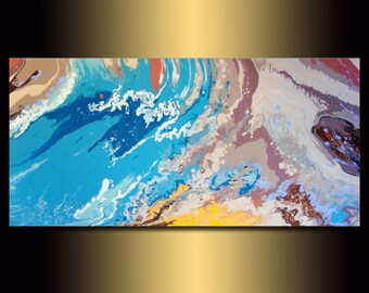Canvas Wall Art | Seascape Original LARGE ABSTRACT PAINTING | Turquoise Blue Painting | Contemporary Art | Landscape Painting | Modern Art