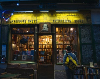 Paris Photography - Finding Shakespeare - Bookstore - Fine art photo - Street photography - yellow, green, gold - unisex gift - 8x10 or 8x12