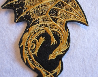 Embroidered  Winged Dragon Iron On Patch, Dragon Applique. Dragon Patch, Mythical Dragon, Goth, Gothic Dragon