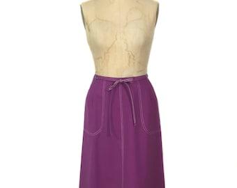 vintage 1970's purple wrap skirt / Koret / skirt with pockets / spring summer skirt / women's vintage skirt / tag size 16