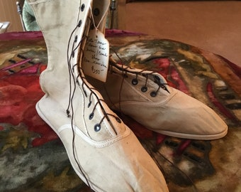 Antique Cream Canvas Bathing Shoes Never Worn Edwardian turn of the Century