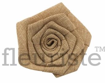 "Burlap Flower, Flat Rolled Rosette, Burlap Rosette, Burlap Rose, Wholesale Flower, Fabric Flower, Burlap Flower, DIY Flower, 3"", Tan, 3 Pc"