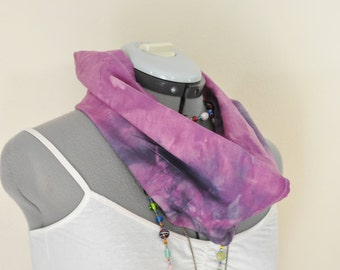 Purple Dyed Infinity Linen Cowl SCARF - Fuchsia Violet Navy Dyed Cotton Loop Eternity Scarf - Continuous Loop Scarf #137 - 9 x 32""