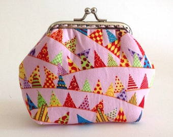 Pink frame purse, small kiss lock purse, cosmetic purse, little pink clutch with colourful flags, coin purse, clasp bag ct017