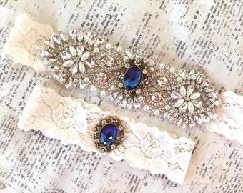 Something Blue Wedding Garter, Wedding Garter Blue, Blue Bridal Garter, Vintage Garter Set, Blue Garter Set, Royal Blue Garter Set