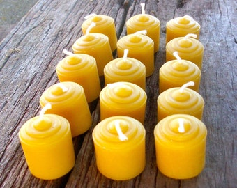 "Beeswax Candles -Set of 15 Natural Beeswax Votives- 1.5"" tall"