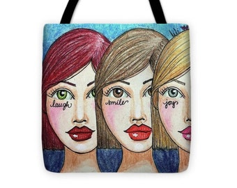 "Laugh, Smile, Joy, Repeat Tote - Wearable Art (16""x16"")"