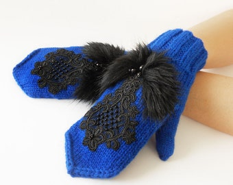Hand Knitted Mittens Embroidered Mittens Fall Winter Mittens Warm Knitted Mittens Blue Women's Mittens Girl's Mitts Royal Blue Mittens
