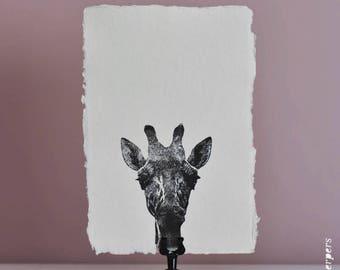 Giraffe op handgemaakt papier