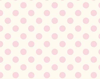 Half Yard Le Creme Dots - Medium Swiss Cream Dots in Baby Pink - Cotton Quilt Fabric - C620-75 - RBD Designers - Riley Blake Designs (W2453)