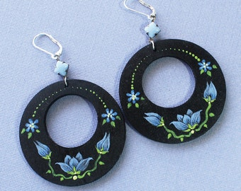 Hand painted wood earrings, hand painted jewelry, hand painted earrings, blue flower earrings, large earrings, blue glass bezel, dangles