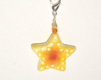 Yellow Orange Star Zipper Pull - Purse Charm - Handmade Polymer Clay Bead