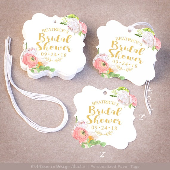 thank you bridal shower tags personalized 255075100200 wedding favor tags floral peonies