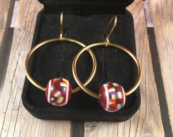 Gold Hoop Earrings with Maroon Vintage Beads on 14kt Gold Filled Ear Wires 1.75 Inches Long 1 Inch Wide