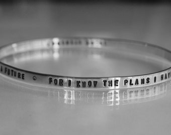 mens round PERSONALIZED (100 text/numbers) hand stamped inside/outside on solid sterling silver 5mm x 2mm bangle bracelet WORDs of LOVE gift