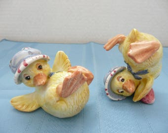 Pair of Porcelain Fitz and Floyd Duckling Figurines, Fitz and Floyd Duck Figurines, Fitz and Floyd Duck Tumblers