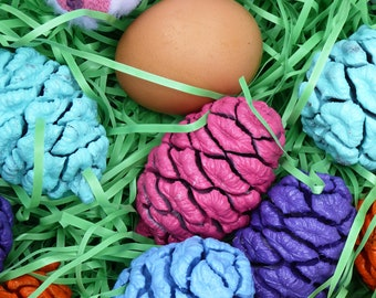 Easter decorations, Easter eggs, Pine cones, painted in Spring colors, Easter garland and wreath making accents, Easter table decorations!