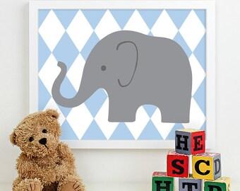 Modern Nursery Art Elephant Nursery Print, Safari Animal Kids Wall Art for Children Room Playroom, Baby Nursery Decor