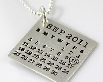 Personalized Mark Your Calendar Necklace - personalized sterling silver calendar necklace